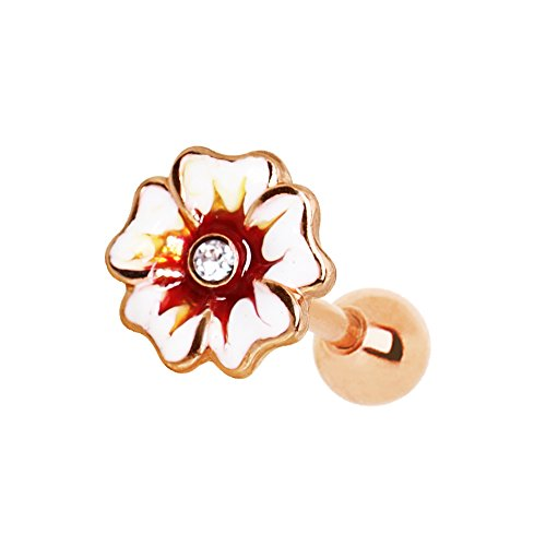 Little Aiden Rose Gold White Sparkle Hawaiian Hibiscus Plumeria Multi Spiral Flower Cartilage Earring 316L Stainless Steel Size 16GA 1/4