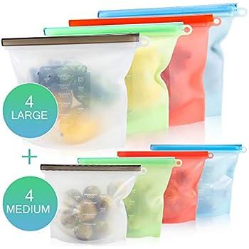 Amazon.com: SAMA 4 unidades reutilizables de silicona bolsa ...