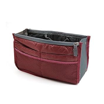 eDealMax Vino Tinto Nylon 13 bolsillos de Doble cremallera de cierre de viajes Higiene almacenamiento de