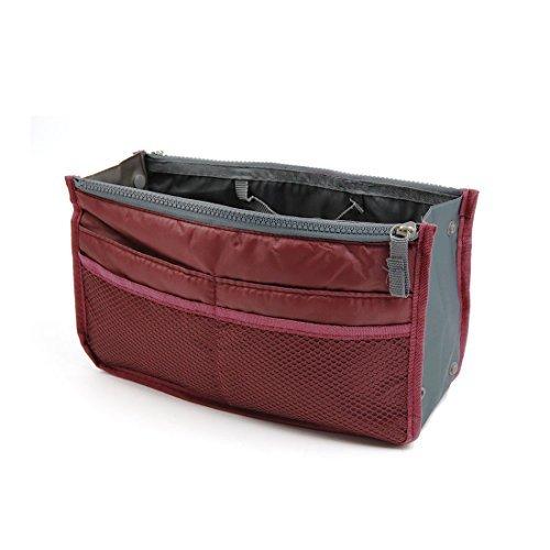 Amazon.com: eDealMax Vino Tinto Nylon 13 bolsillos de Doble cremallera de cierre de viajes Higiene almacenamiento de la Bolsa de maquillaje cosmético de la ...