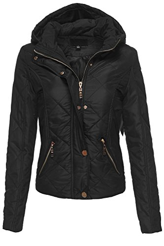 Ultra Light Weight Quilted Hooded Padding Parka Jackets 056-Black Large