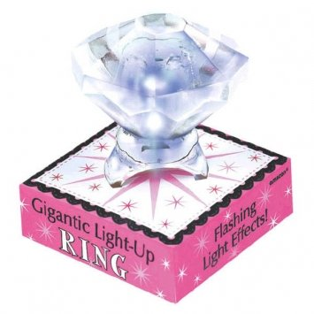A Night to Remember Bachelorette Party Gigantic Light-Up Diamond Ring Accessory, Plastic, 1