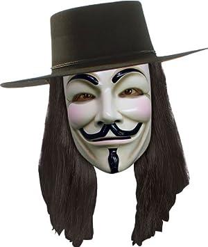 Accesorios para disfraz de Guy Fawkes de V for Vendetta (sombrero, máscara y peluca