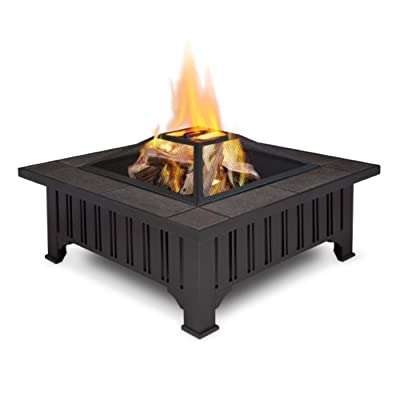 Real Flame Lafayette Fire Pit - Burns seasoned firewood or converts to Real Flame gel fuel with the addition of Real Flame 2-Can or 4-Can Outdoor Conversion Log Sets Heat resistant powder coated steel frame with gray tile top Includes spark screen, log poker tool and protective storage cover - patio, fire-pits-outdoor-fireplaces, outdoor-decor - 41TQtMnPs L. SS400  -