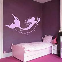 Mermaid Vinyl Wall Decal Quote Mermaid Kisses Starfish Wishes Girls Room Baby Nursery Decor (Hydrangea purple,xs)