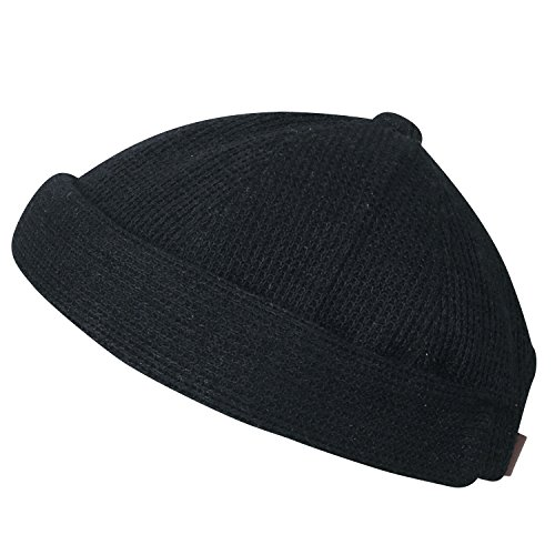 Acrylic Short Beanie (ililily Waffle Pattern Cotton Short Beanie Strap Back Soft Hat Casual Cap, Black)