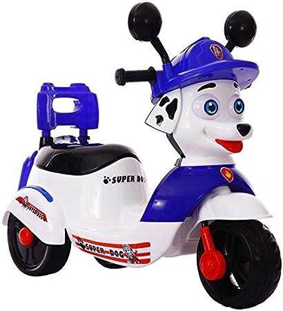 MAGO de 2019 nuevos niños de la motocicleta eléctrica, triciclo, Want Want batería de coche, pueden montar a caballo del coche eléctrico (Color : Blue)