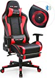 GTRACING Music Gaming Chair with Footrest and Bluetooth Speakers Video Game Chair Heavy Duty Ergonomic Computer Office Desk Chair Red