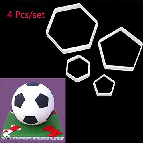 TraveT 4pcs Football Shaped Cake Decorating Tools Fondant Mold Baking Mold Tool Set Soccer Ball Cookie Cutter