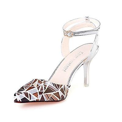Ggx/femme Chaussures PU d'été talons talons décontracté Stiletto Talon d'autres Rose/blanc/argenté/gris/doré