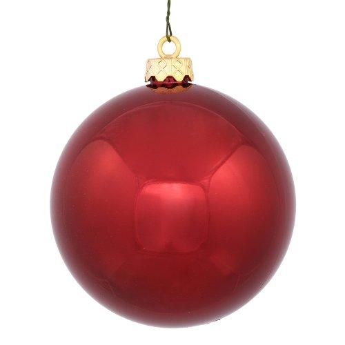 Vickerman 4-Finish Ball Ornament, 300mm, Burgundy (Lights Tree Christmas Burgundy)