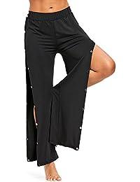 Women's High Waist Slit Wide Leg Pants Flowy Long Lounge Palazzo Pants