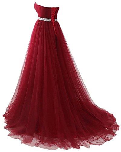 LuckyShe Elegant Lang Tuell Marine Promkleider Partykleider Abendkleider Ballkleider wTwr7qd