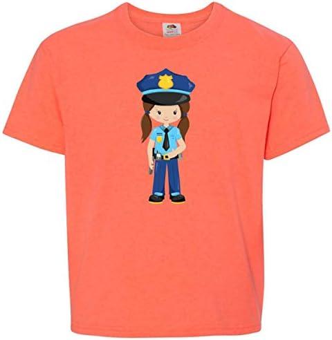 inktastic Cute Girl Police Girl Police Uniform Toddler T-Shirt Orange Hair