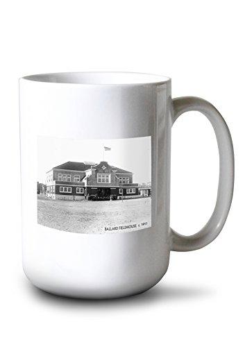 (Lantern Press Ballard - Seattle, WA - Ballard Fieldhouse (15oz White Ceramic Mug))
