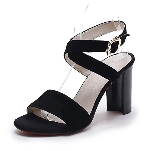 AllhqFashion Women's Frosted Buckle Open Toe High-Heels Solid Sandals Black ny4Q6nRF