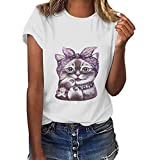Women's Casual Cute Print Tops,Summer Cap Sleeve Cute Cat Print T-Shirt, Short Sleeve Round Neck Loose T-Shirt Blouse Tops
