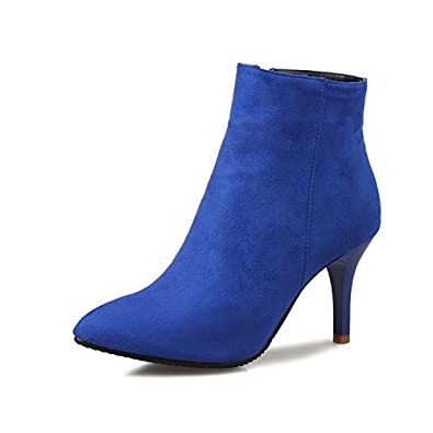 bd3e80b5267 Brooklyn Walk Size 33-46 Pointed Toe Ankle Boots Women Shoes Autumn Winter  Thin high Heels Black Blue red Gary Shoes Woman: Buy Online at Low Prices  in ...