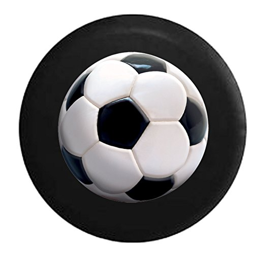 Lifelike Soccer Ball Black and White Spare Tire Cover Black 33 in