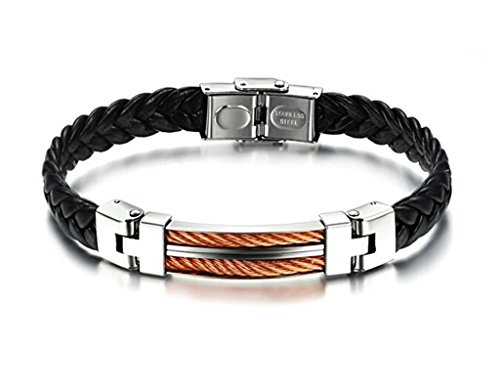 Mens Black Weave Leather Bracelet,Copper Cable Inlay,Bangle,Stainless Steel Buckle