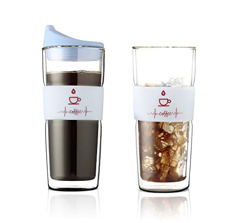 Sbk Double wall Insulated Reusable Large Clear Glass Coffee Mugs,Tea,Juice,Water,Cocoa, Espresso, Latte Cups, Cappuccino,Ice Thermo Glassware With Silicone Tight Fitted Lid,16.5 Ounce, Mint Color ()