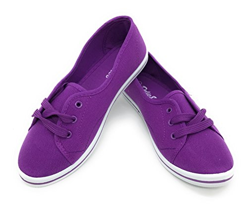 21 Women and Girls Canvas Shoes Loafer Kids Shoes Lace-up,Ballet Shoes(8 M US Women, Purple) (Purple Womens Sneakers)