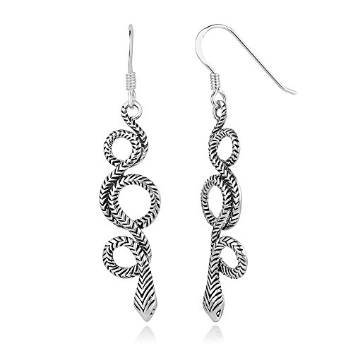 (925 Oxidized Sterling Silver Coiled Cobra Snake Serpent Long Dangle Hook Earrings 1.9 inches)