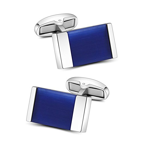 Color Stones Cufflinks - Mr.Van Blue Onyx Cufflinks Men's Shirt Cuff Links Set Gemstone Reiki jewelry Gifts for men