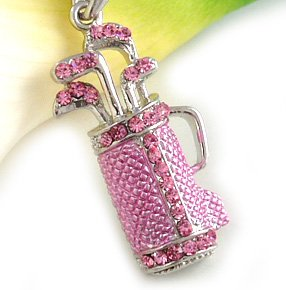 Light Pink Golf Clubs Bag Sports Pendant Necklace Pink Rhinestone Ladies Golf Sports Fashion Jewelry