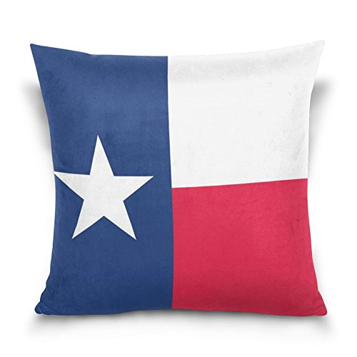 SUABO Flag of Texas Pattern Cotton Velvet Decorative Throw Pillow Case Cushion Cover 18 X 18 inch