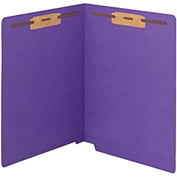 Smead WaterShed/CutLess End Tab Fastener Folder, Reinforced Straight-Cut Tab, Two Fasteners, Letter Size, Purple, 50 per Box (25550)
