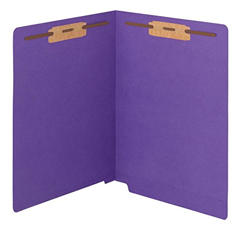 (Smead WaterShed/CutLess End Tab Fastener File Folder, Reinforced Straight-Cut Tab, 2 Fasteners, Letter Size, Purple, 50 per Box (25550) )