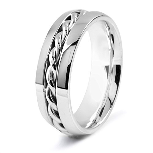 Polished Twisted Rope - West Coast Jewelry Men's Stainless Steel Polished Twisted Rope Inlay Ring - Size 9