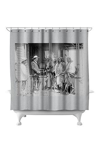 Cheyenne Drapes (Cheyenne Men Converse with White Man through Interpreter Photograph (71x74 Polyester Shower Curtain))