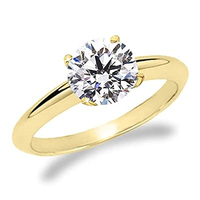 1/2 Carat Round Cut Diamond Solitaire Engagement Ring 18K Yellow Gold 4 Prong (J, VS1-VS2, 0.5 c.t.w) Very Good Cut