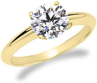 3/4 Carat Round Cut Diamond Solitaire Engagement Ring 18K Yellow Gold 4 Prong (K, VS2-SI1, 0.74 c.t.w) Ideal Cut