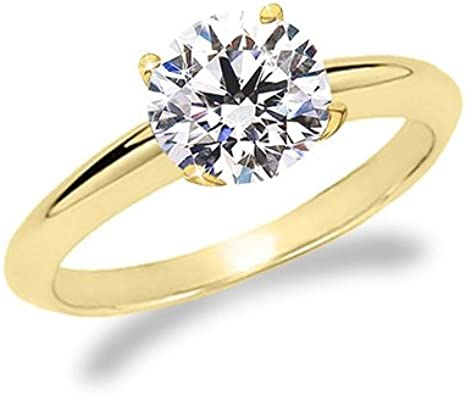 1.00 Ct Round Cut Diamond 14k Yellow Gold Over Solitaire Engagement Wedding Ring