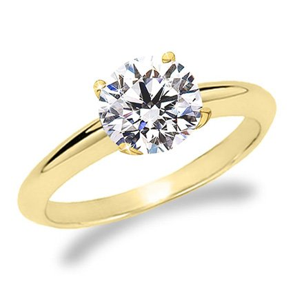 Brilliant Round Cut Diamond - 1/2 Carat Round Brilliant Cut / Shape 14K Yellow Gold Solitaire Diamond Engagement Ring 6 Prong (I-J Color , I1-I2, 0.50 cts)