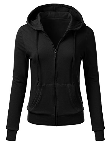 FLORIA Women Casual Basic Solid Knit Stretch Lightweight Zip Up Hooded Jacket Black M (Women Hoodie Basic Jacket)