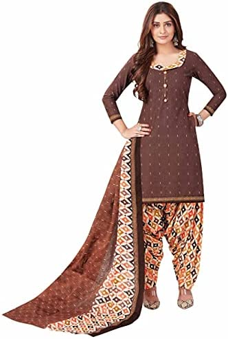 Miraan Women Cotton Unstitched Dress Material (BANDCOL821, Brown, Free Size)