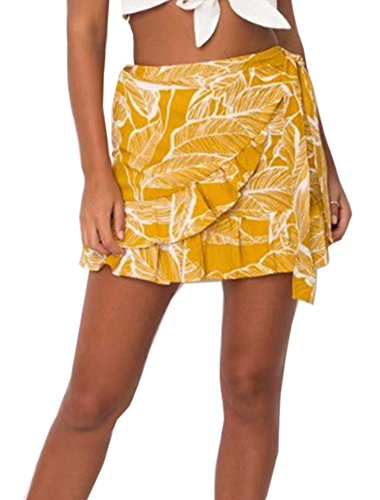 (Women's Summer Casual Floral Print Flare Short Mini A Line Skirt)
