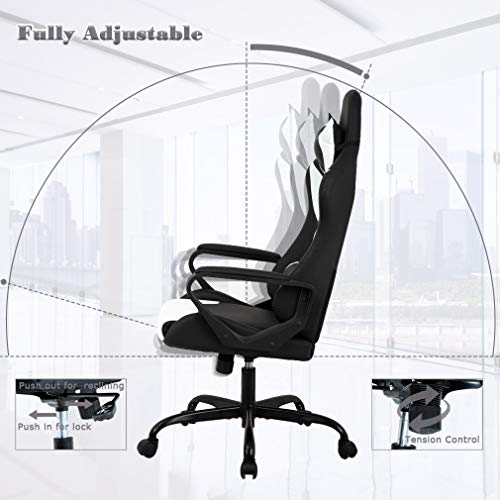 BestMassage Office High-Back Leather Chair Computer Chair Rolling Headrest Lumbar Support Women,