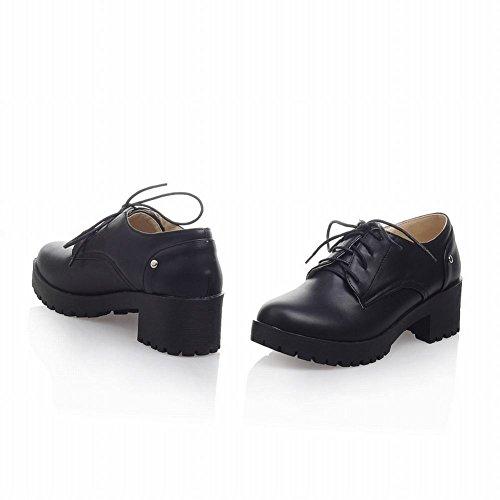 Schoudertas Mode Dames Retro Retro Vintage Comfort Dikke Midhak Oxfords Schoenen Zwart