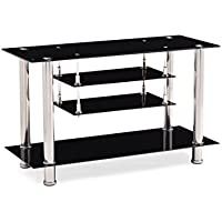 Hodedah Four Shelve Tempered Glass TV Stand, Accommodates TVs up to 55, Black