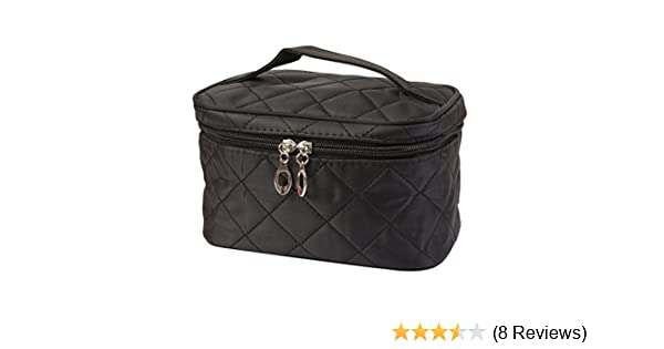 174e8e8ee90a LtrottedJ Women Square Case grain Of Pure Color Cosmetic Bag (Black)