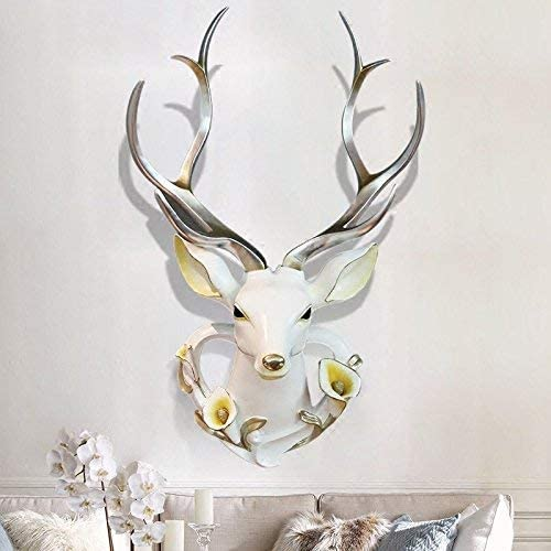 YJ Home Deer Head Wall Decor – Faux Stag Mounted Animal Head Wall Decor Fake Deer Head Sculpture XXL, White Head Silver Antlers