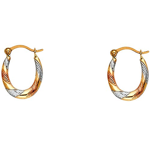 - Solid 14k Yellow White Rose Gold Oval Hoop Earrings Diamond Cut Hollow Fancy Tri Color 15 x 12 mm