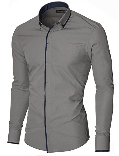 MODERNO Mens Button Down Dress Shirts Slim Fit Long Sleeve with Contrast Band Gray US M
