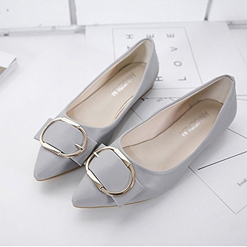 T-JULY Womens Ballet Flats Classic Pointed Toe Comfort Slip on Dress Shoes Gray 4TPU4DDp8w