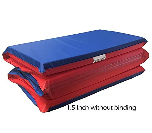KinderMat, Basic Rest Mat, 1.5 Inch Thick, 41.75 x 18 Inches Red/Blue (Under Dollars Gymnastics Mat 20)